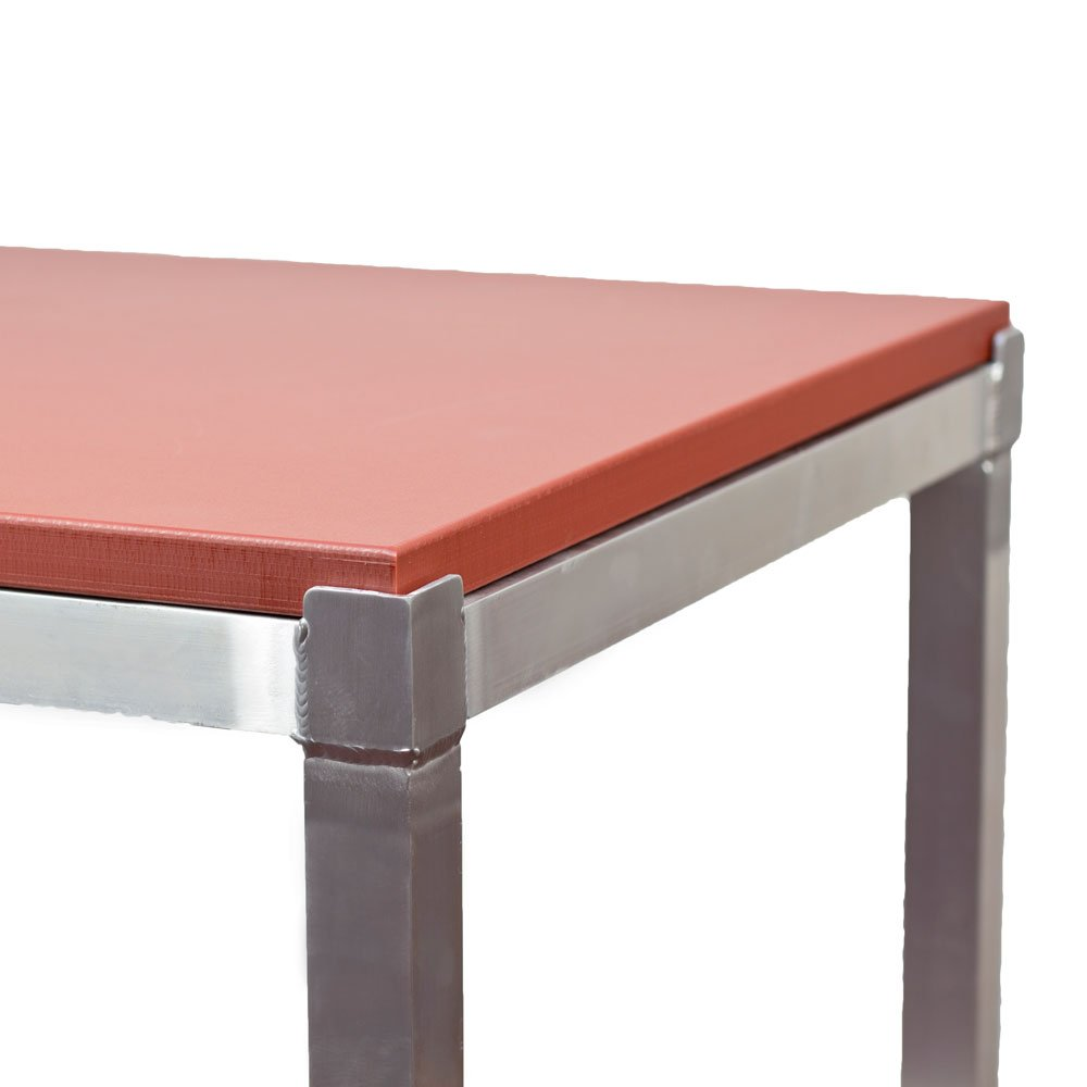 Aluminium Frame Poly Top Cutting Table Red Brown 4ft x 2ft