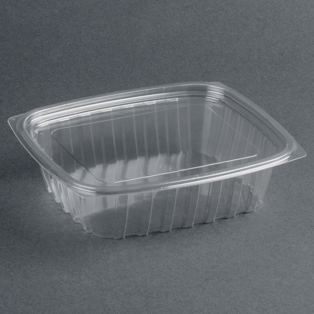 disposable food containers hinged lid salad containers rectangular 375ml per 450 11673