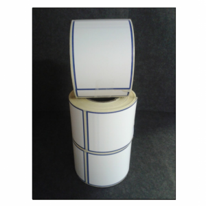 Thermal Scale Label Roll 58x80 White with BLUE BORDER