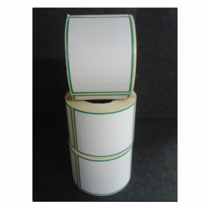 Thermal Scale Label Roll 58x80 White with GREEN BORDER
