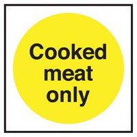 Cooked Meat Only Notice Sticker