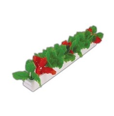 Garnish WHITE base Red Green Leaf Per Pack 12