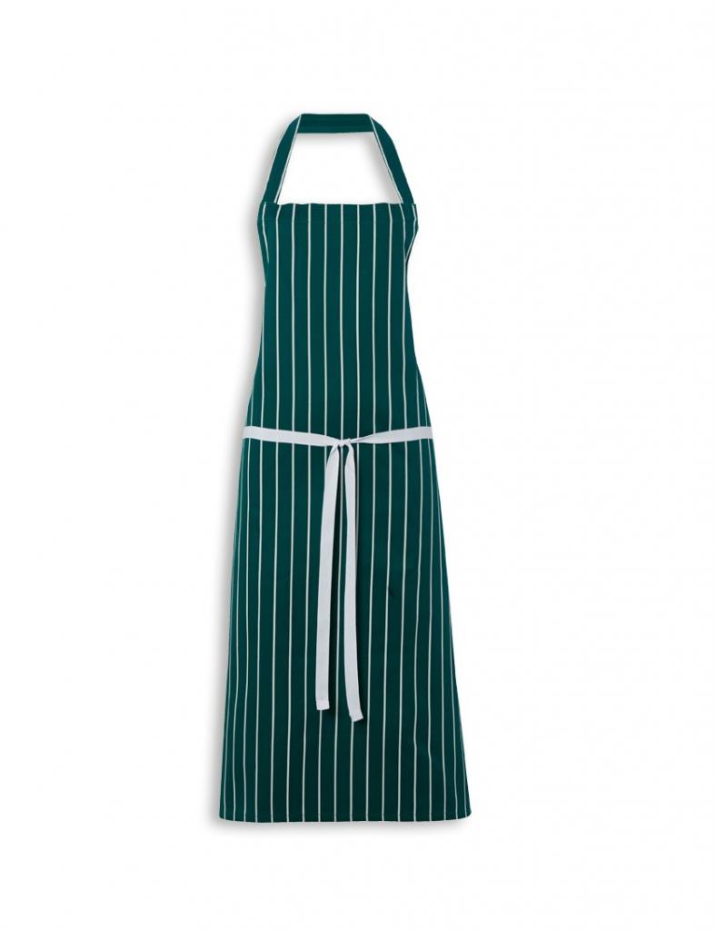 White apron cotton - Butchers Apron Cotton Navy Green White Stripe 90cm