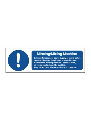 Mincer Mixer Safety Notice Sign 100x300mm