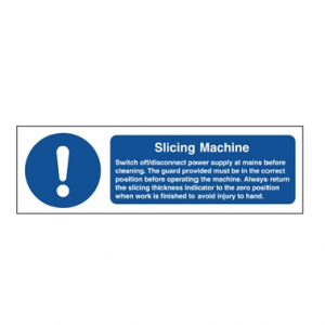 Slicer Safety Notice Sign 100x300mm