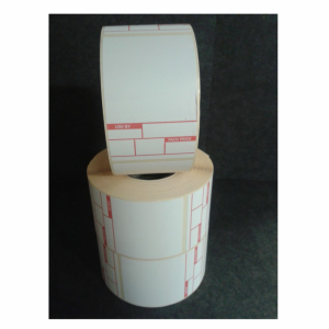 Thermal Scale Label Roll 49x74mm Red White Format 1