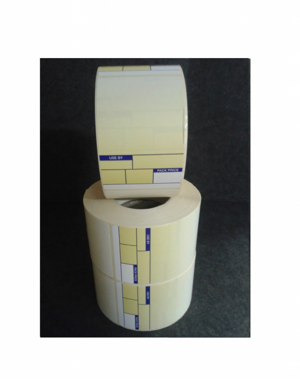 Thermal Scale Label Roll 49x74mm BLUE and YELLOW Format 1